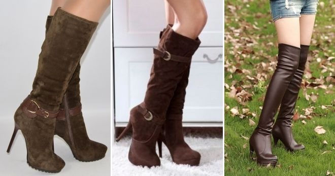 С чем носить коричневые сапоги на каблуке шпильке