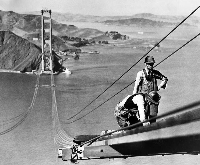 """1. Мост """"Золотые ворота"""". Сан-Франциско, Калифорния архитектура, достопримечательности, интересно, исторические фото, исторические фотографии, познавательно, сооружения, строительство"""