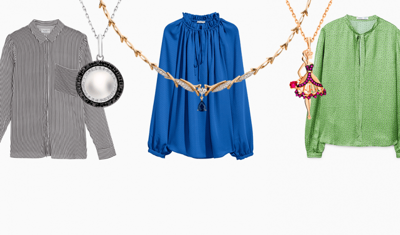 Идеальная пара февраля: блузки с воротничком + кулоны на цепочке