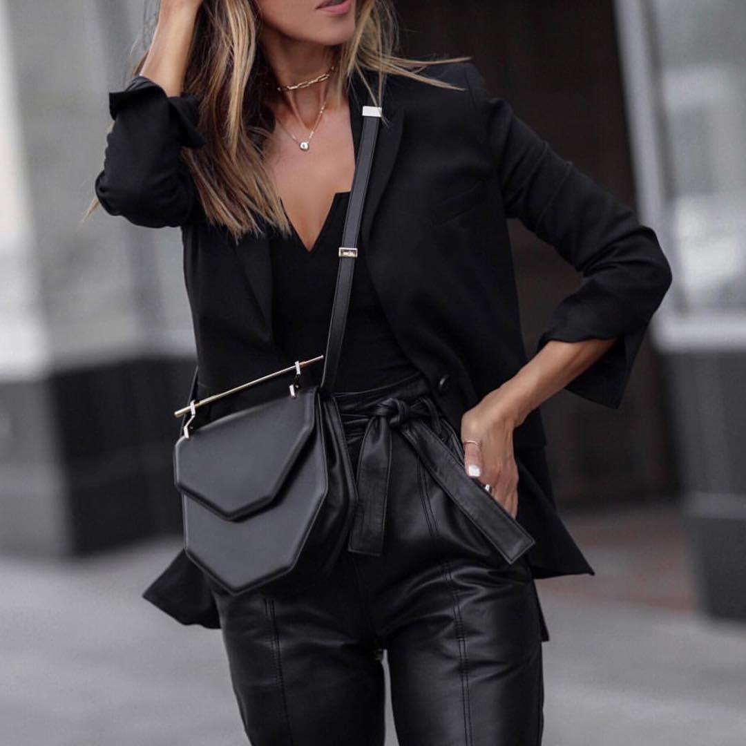 Черные блузки и рубашки с чем носить фото 9