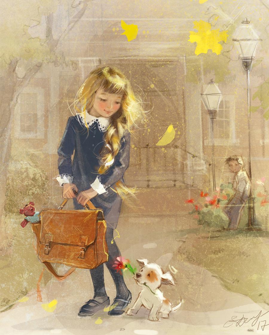 открытка художника в школу притягивается любой
