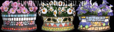 Мозаичные вазоны из ржавых колёс очумелые ручки