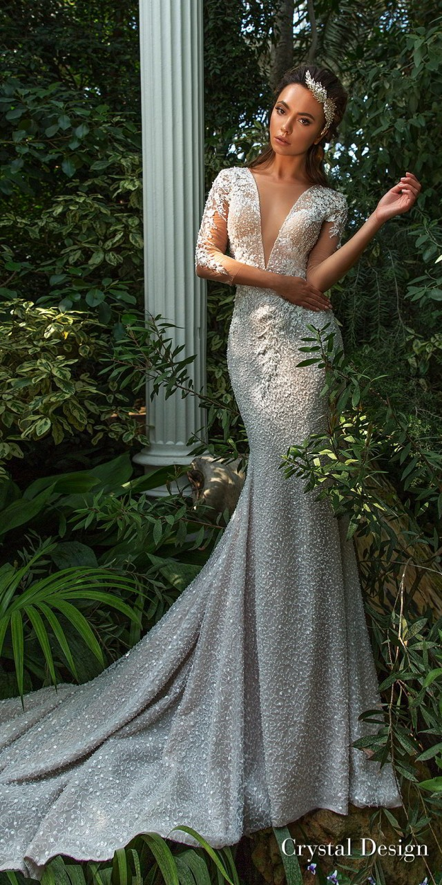 crystal design 2018 three quarter sleeves deep v neck full embellishment elegant fit and flare wedding dress keyhole back sweep train (mireya) mv