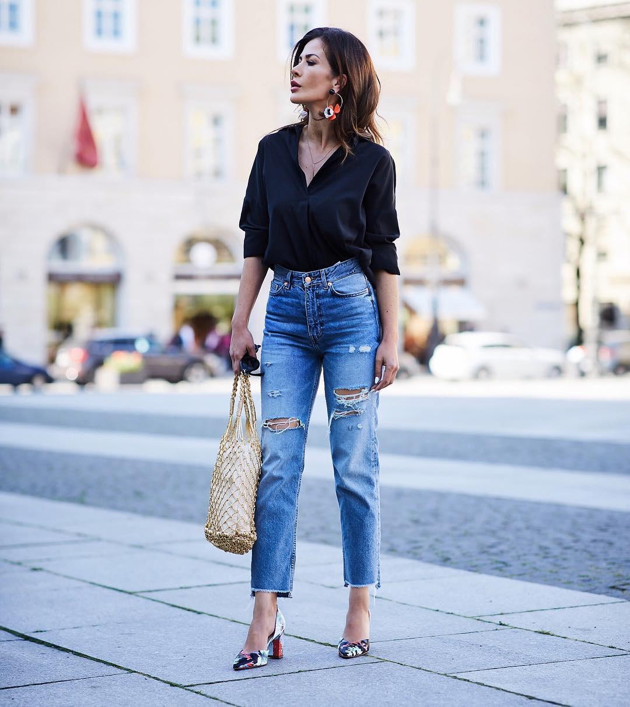 Черные блузки и рубашки с чем носить фото 14