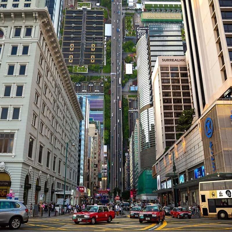 9. Вертикальный город Томми Фанг, гонконг, забавно, талант, фантазия, фото, фотошоп, художник