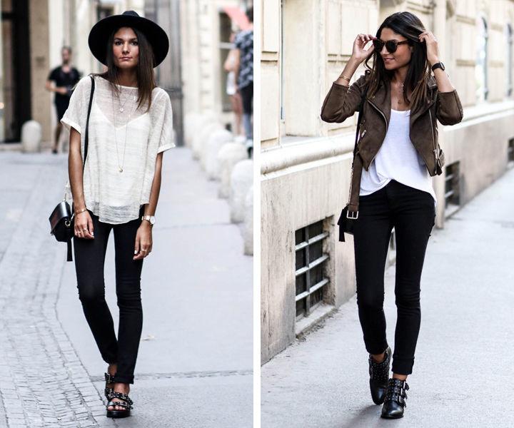 Черные джинсы скинни с белой футболкой