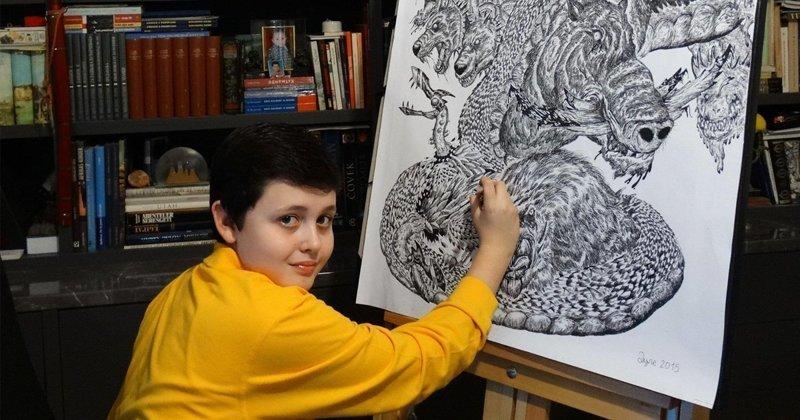 15-летний художник рисует животных с фотографической точностью