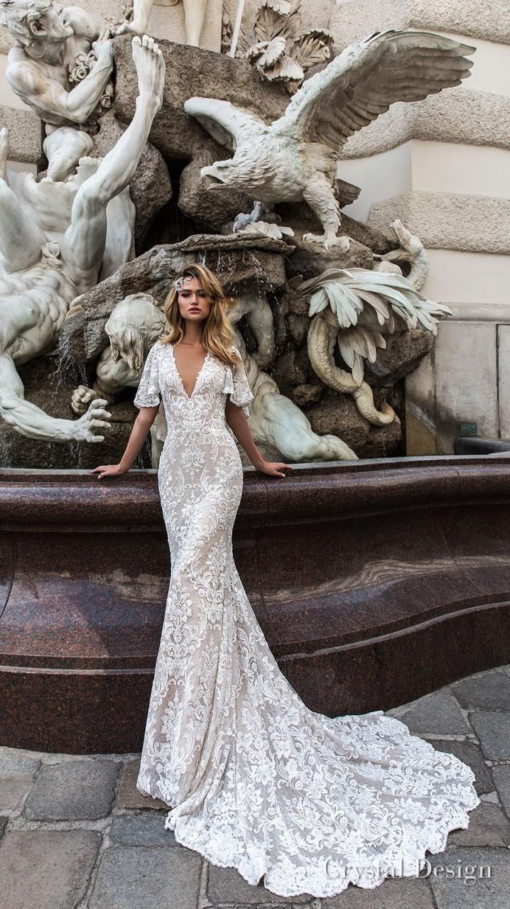 crystal design 2018 half handkerchief sleeves v neck full embellishment elegant fit and flare wedding dress covered lace back medium train (indira) mv