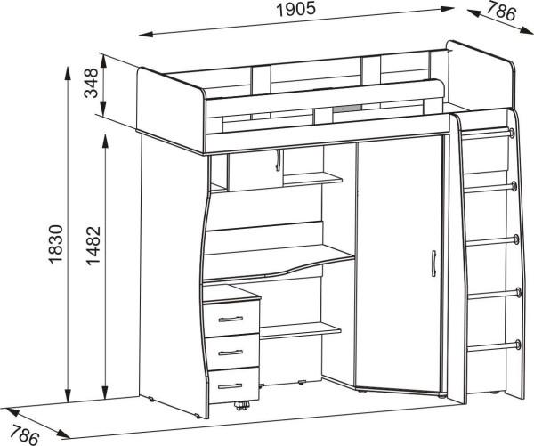 Чертеж: кровать чердак для подростка со шкафом и рабочим местом