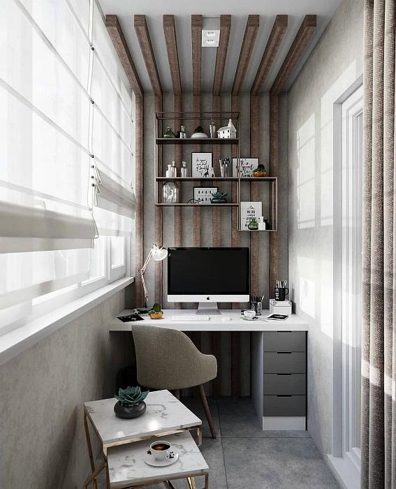 Небольшой офис с элементами рустикального стиля.   Фото: Клео.ру.