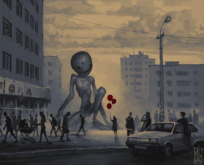 Рисунки монстров на улицах р…