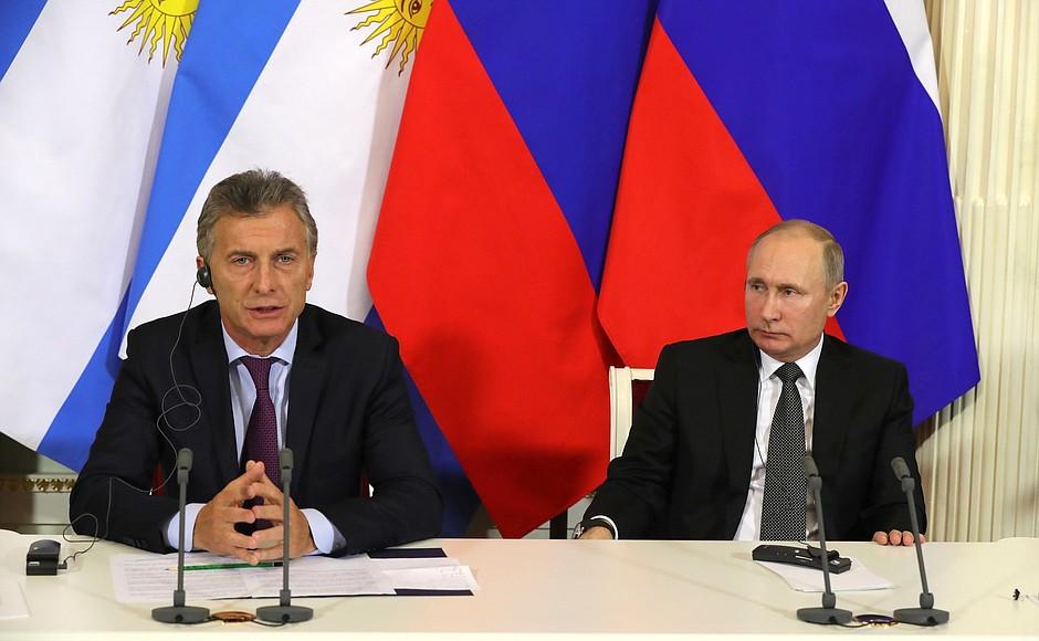 Заявления для прессы по итогам переговоров с Президентом Аргентинской Республики Маурисио Макри