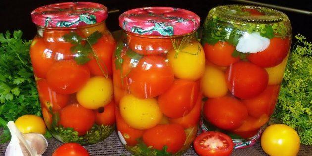 Рецепты: Маринованные помидоры с зеленью