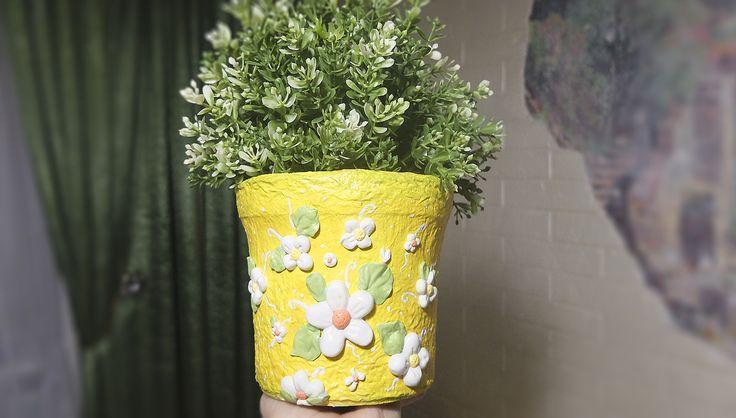 Необычный горшок для цветов из пластикового ведра для изысканного интерьера декор,мастер-класс