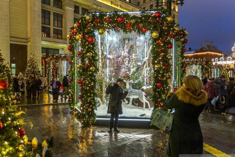 В стеклянных павильонах, установленных между деревьями, можно обнаружить инсталляции, изображающие разные времена года. Январь: красиво, красота, москва, новый год, праздник, рождество, столица, фотография