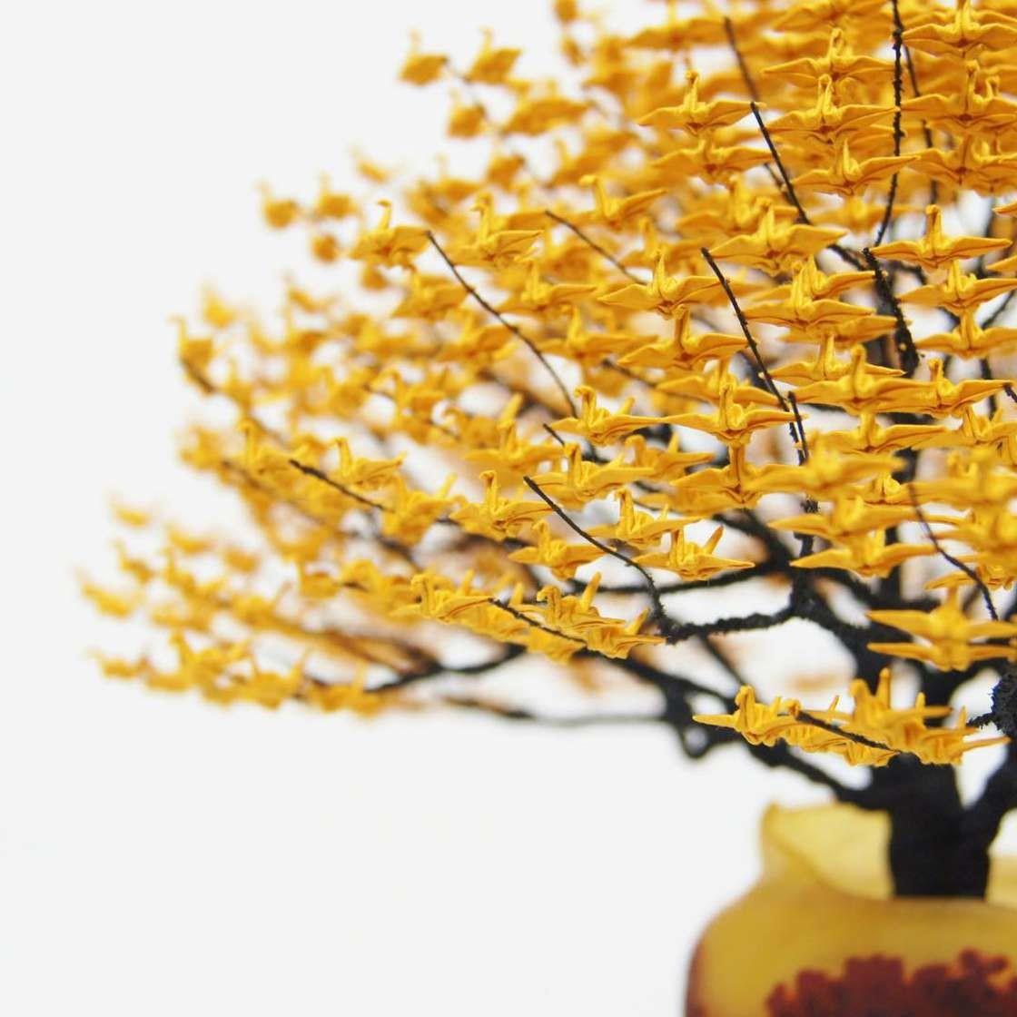 Невероятные деревья-бонсай с кронами из тысяч крошечных оригами журавлей бонсай, дерево, журавли, оригами, своими руками, сделай сам