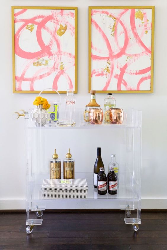 29 lucite bar cart on casters doesnt steal attention from the wall arts
