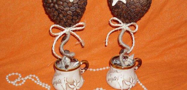 Топиарий из кофейных зерен – сердце, дерево и парящая чашка своими руками