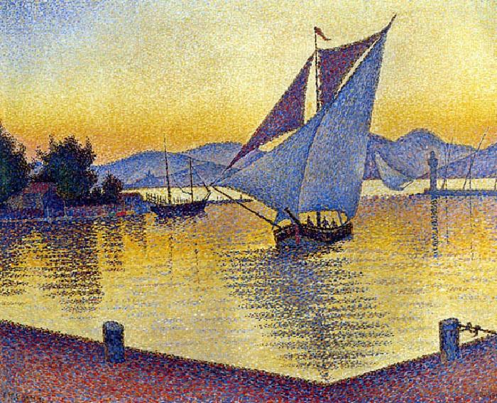 Порт на закате, Сен-Тропе, 1892. Автор: Поль Синьяк.