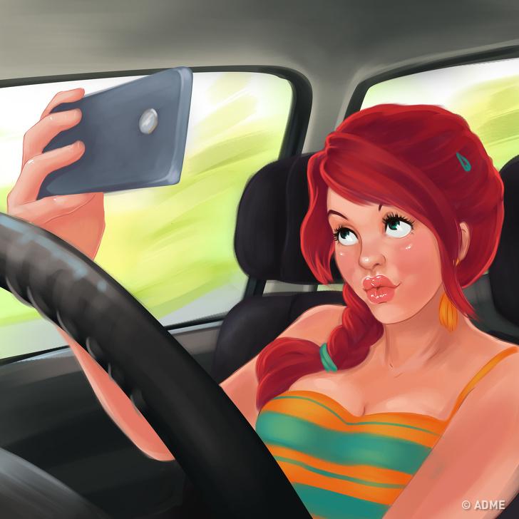 Картинка прикол девушка за рулем