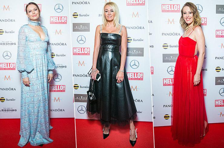 Собчак в красном и Рудковская в коже: самые яркие образы премии Hello!