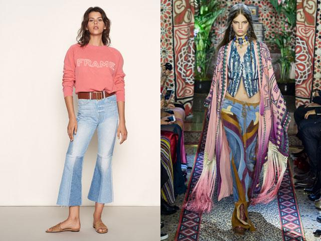 Модные комбинированные джинсы 2018