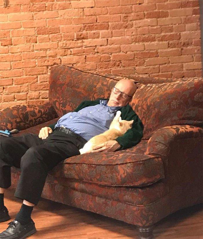 Пожилой волонтер кошачьего приюта завоевал интернет
