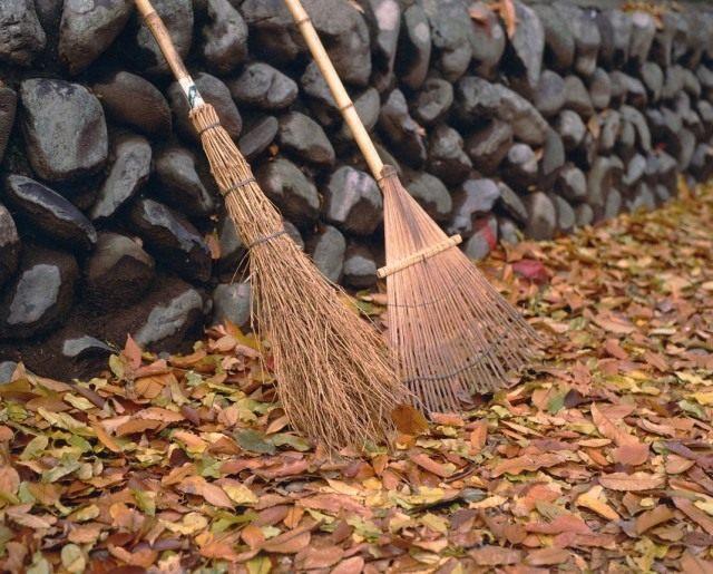 Уборка опавшей листвы в саду