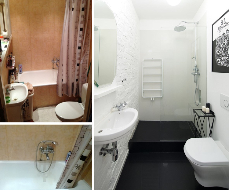 современный интерьер ванной комнаты черно-белый цвет кирпичная стена фото до и после