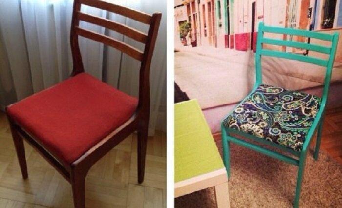 А ведь этот стул уже собирались выбрасывать… до и после, идея, мебель, ремонт, своими руками, фантазия