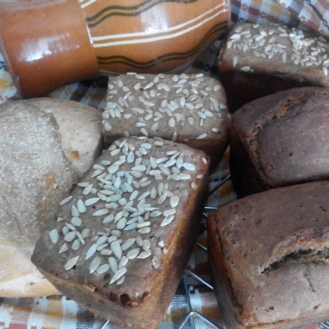 Хлеб ржаной заварной с семенами льна, кунжута , чиа и подсолнуха