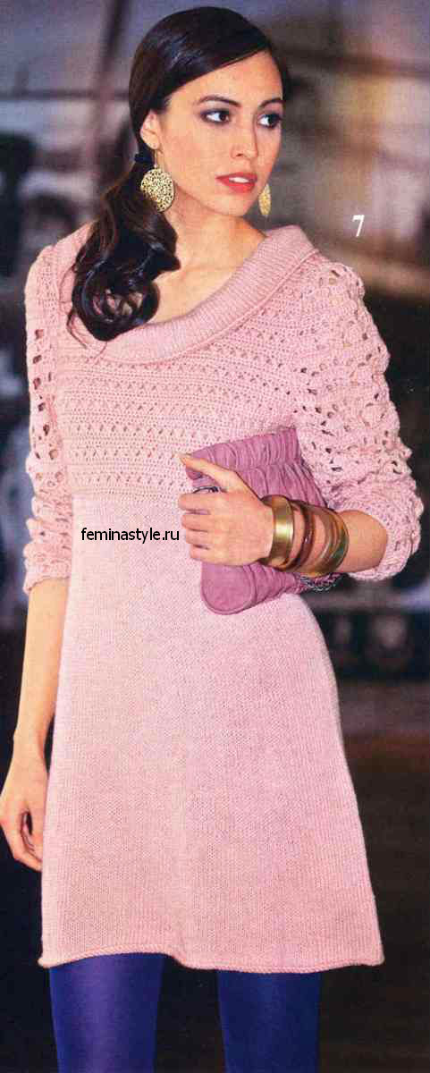 Платье цвета пудры с кружевным верхом