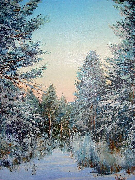 Идёт волшебница - Зима... Пейзажная живопись Александра Леднева