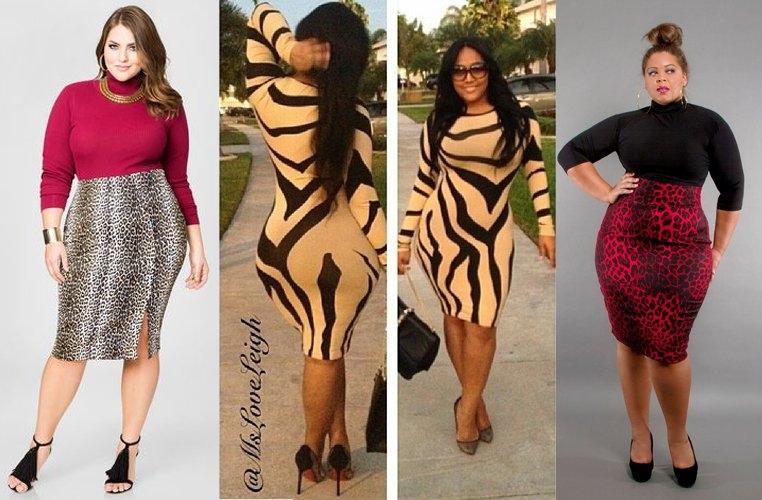 Животный принт в модной одежде для полных женщин