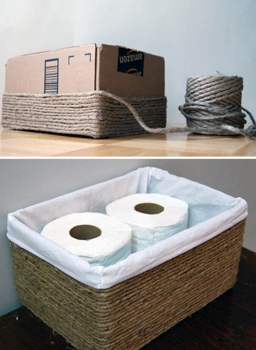 Стильная корзинка для хранения из обычной коробки.