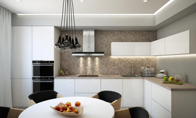 современный дизайн кухни студии фото
