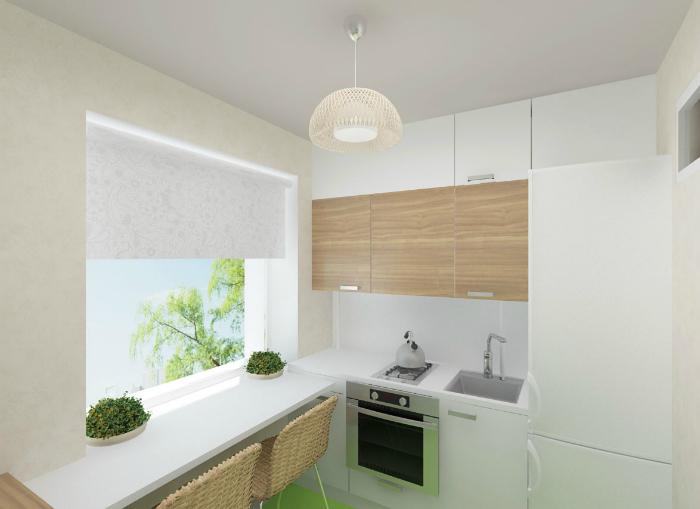 Крошечная Г-образная кухня в светлых тонах.