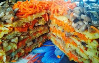 Картофельный торт с грибами и морковью на сковороде
