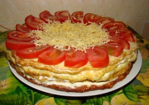 Закусочный торт из кабачков.