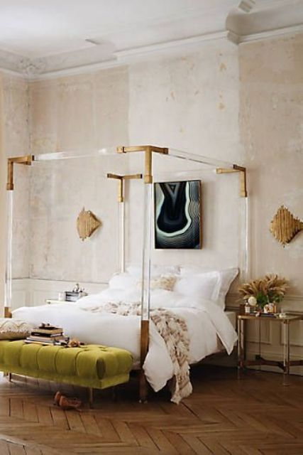 25 acrylic posters with brass corners for a refined girlish bedroom