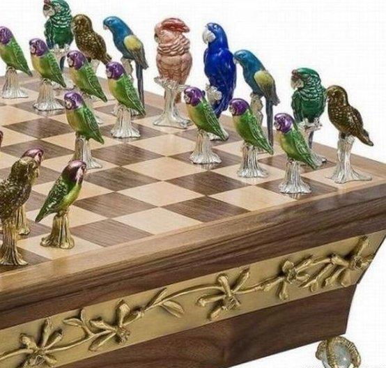 "Шахматы ""Попугаи"" искусство, красота, мастерство, невероятное, талант, шахматы"