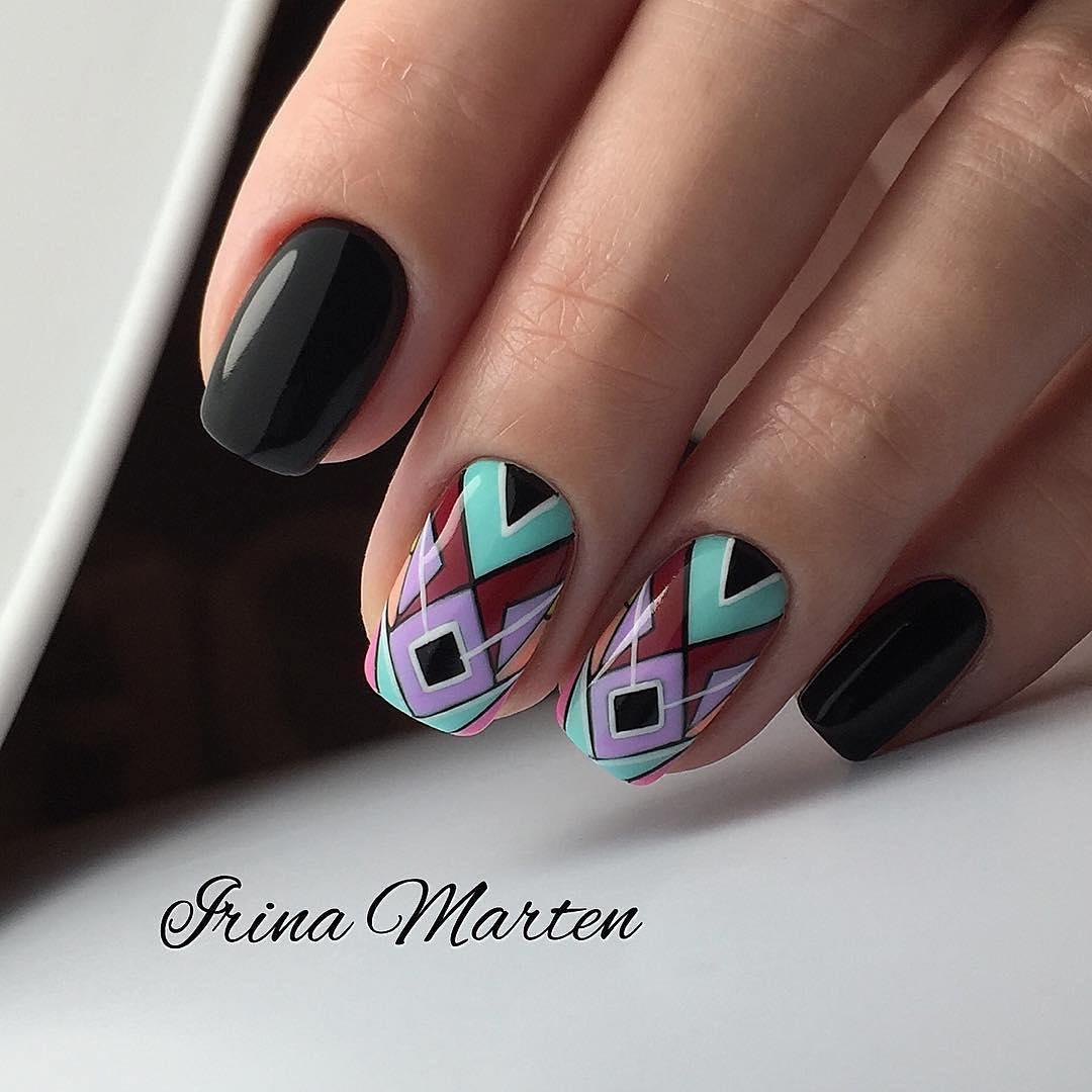 Фото идеи маникюра для квадратной формы ногтей