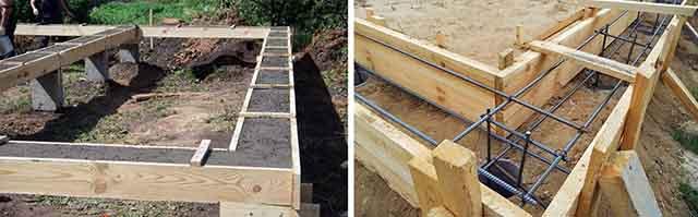 Заливка основания из бетона