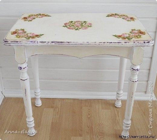 Винтажная переделка старого стола в стиле шебби-шик 0