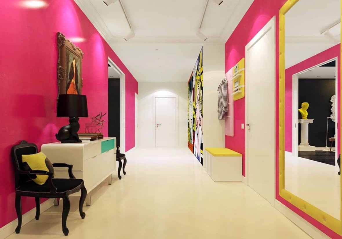 modern-hallway-decorating-ideas-in-bright-pink-and-white-1024x1024