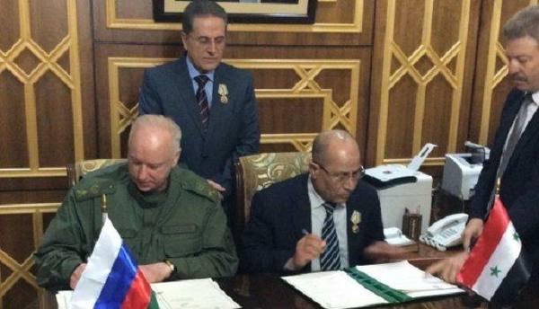ГлаваСК России подписал протокол сМинюстом Сирии оборьбе стерроризмом