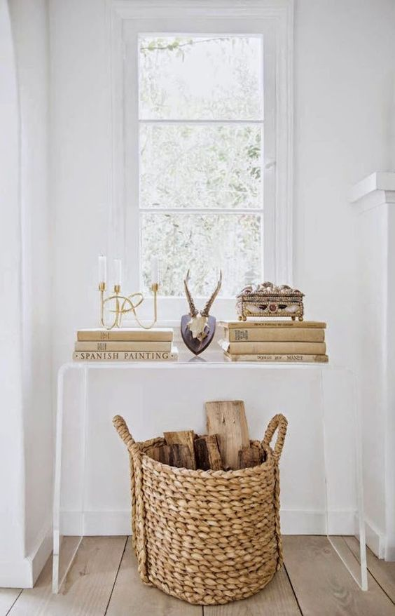 23 lucite bent console table accentuates a basket