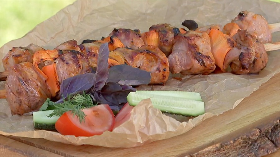 """Домашний шашлык в соевом соусе с морковью """"Свинина с каротином"""""""