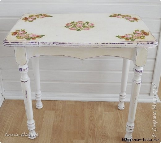 Винтажная переделка старого стола в стиле шебби-шик 9