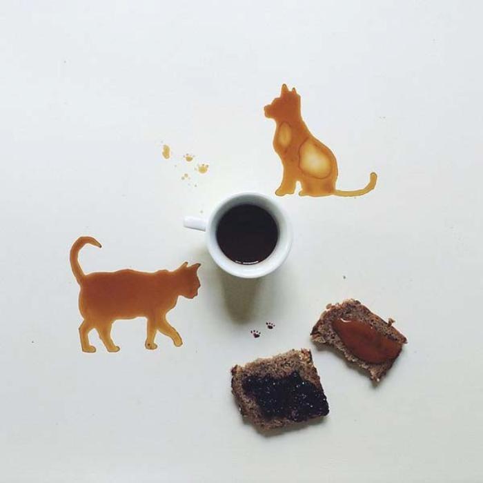 Необычные рисунки, созданные при помощи кофейных пятен